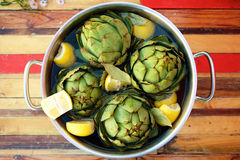 Artichokes in a pot Royalty Free Stock Image