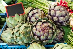 Artichokes for sale on market with black price tag, good for autumn and winter stock photography