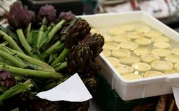artichokes for sale in stand of greengrocers Royalty Free Stock Photography