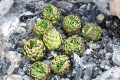 Artichokes seasoned cooked on charcoal Royalty Free Stock Photos