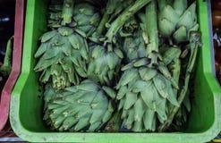 Artichokes in super market royalty free stock photo