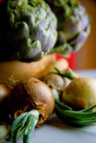 Artichokes on the table Royalty Free Stock Photography