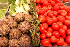Artichokes and tomatoes Royalty Free Stock Photo