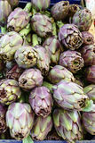Artichokes in a vegetable market Stock Images