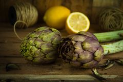 Artichokes posed and lemon on background with strings. Artichokes waiting to be cooked and cutted lemons to preserve the vegetable from oxidating and some Stock Image