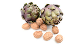 Artichokes with walnuts Royalty Free Stock Images
