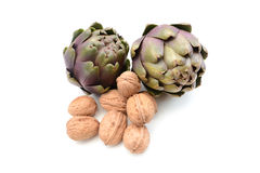 Artichokes with walnuts Stock Image