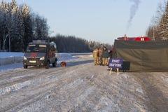 Article chauffant EMERCOM sur la route M8 dans le secteur de Sokolsky de la région de Vologda Images libres de droits