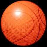 Article de sport orange du basket-ball 3D sur le fond noir Images stock
