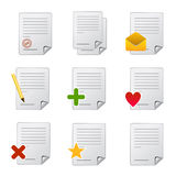Article document icons. Vector illustration of web icons for documents and articles Stock Photos