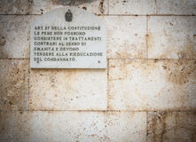 Article 27 of the Italian Constitution. Royalty Free Stock Images