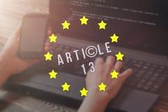 Article 13 l'amendement aux matériaux interdits par législation de l'UE de médias sur l'Internet photo libre de droits