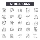 Article line icons, signs, vector set, outline illustration concept. Article line icons, signs, vector set, outline concept illustration stock illustration