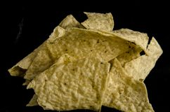 Corn chips with salt and oil ready for a snack stock photo
