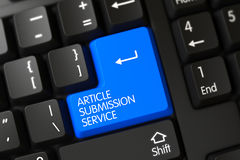 Article Submission Service CloseUp of Blue Keyboard Button. 3D. A Keyboard with Blue Key - Article Submission Service. 3D Render stock images