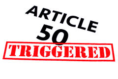 ARTICLE 50 TRIGGERED. ARTICLE 50 title rubber stamped as TRIGGERED Royalty Free Stock Images