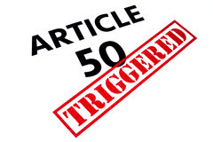 ARTICLE 50 TRIGGERED. ARTICLE 50 title rubber stamped as TRIGGERED Royalty Free Stock Photos