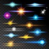 Articles colorés de collection de réflexions réalistes Fond transparent d'effet de la lumière Illustration de vecteur Photos libres de droits