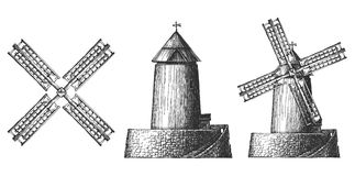 Articles complètement des moulins à vent sur un fond blanc Image stock