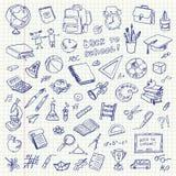 Articles d'école de dessin de dessin à main levée. De nouveau à l'école Image libre de droits