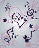Articles d'amour et de musique Photo libre de droits