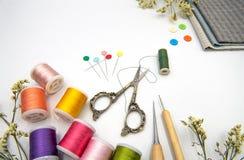 Articles de couture sur le fond blanc photos libres de droits