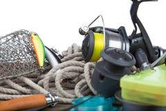 Articles de pêche à bord et corde Images libres de droits