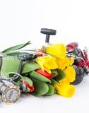 Articles de pêche avec des fleurs de ressort Images libres de droits