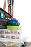 Articles de pêche et amorces dans la boîte et le sac Photos libres de droits