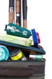 Articles de pêche et amorces dans la boîte et le sac Photo libre de droits
