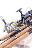 Articles de pêche et amorces extérieurs Photo stock