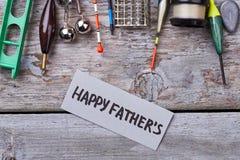 Articles de pêche pour des vacances du ` s de père Photographie stock libre de droits