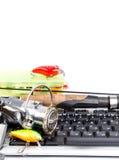 Articles de pêche sur le clavier d'ordinateur Photographie stock
