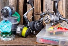 Articles de pêche sur le fond de l'usine sèche Photos stock