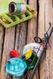 Articles de pêche sur le fond de l'usine sèche Photos libres de droits