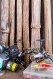 Articles de pêche sur le fond de l'usine sèche Photo stock