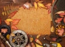 Articles de pêche sur le fond en bois Image libre de droits