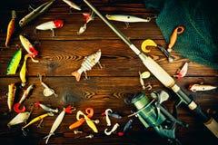 Articles de pêche tournant, toujours la vie Image stock