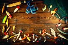 Articles de pêche tournant, toujours la vie Photographie stock libre de droits