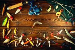 Articles de pêche tournant, toujours la vie Images stock