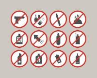 Articles interdits de bagage Restrictions d'aéroport Substance dangereuse pour l'avion Photos libres de droits