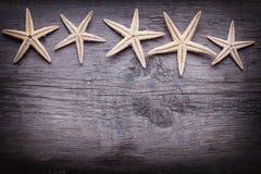 Articles marins sur le fond en bois Photographie stock