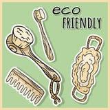 Articles matériels naturels de douche Produit écologique et de zéro-déchets Maison verte et vie sans plastique illustration de vecteur
