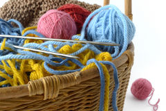 Articles pour le tricotage Images stock