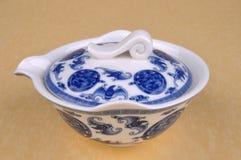 Articoli blu cinesi del tè della pittura Fotografie Stock