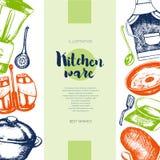 Articoli della cucina - colori il modello d'annata tirato dell'insegna Immagine Stock