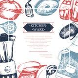 Articoli della cucina - modello d'annata della cartolina di colore Immagine Stock