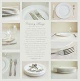 Articoli per la tavola con i piatti bianchi Fotografie Stock