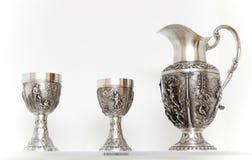 Articoli per la tavola d'argento antichi Fotografia Stock Libera da Diritti