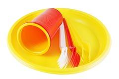Articoli per la tavola a gettare di plastica Fotografie Stock Libere da Diritti